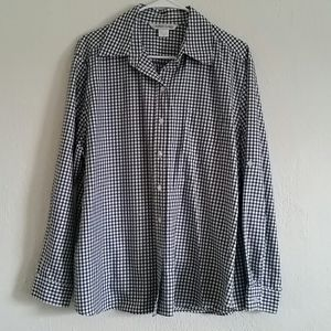 Allison Daley Black/White Button Down Shirt Sz 10